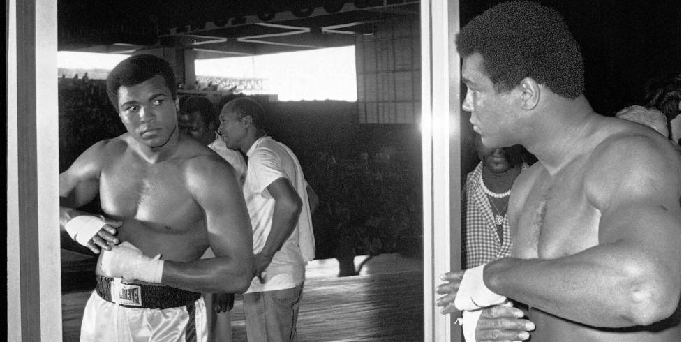 Mohamed Ali à Manille, pendant sa préparation pour le combat contre Joe Frazier en 1975